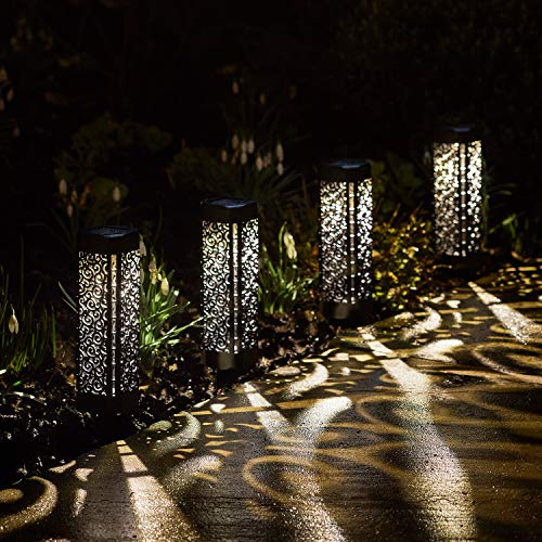 Lights4fun Conjunto de 4 Estacas Solares Estilo Marroquí con LED Blancos Cálidos para Exteriores