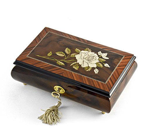 Exquisite Single Stem White Rose Musical Jewelry Box - I Love You Truly