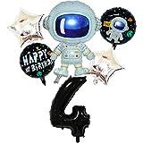 DIWULI, juego de globos espaciales de astronauta grande, globo XL número 4 negro, globos de lámina de feliz cumpleaños, 4º cumpleaños infantil, fiesta temática, decoración, cohete, nave espacial