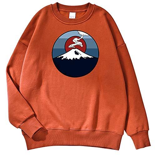 RuaRua Herren Crewneck Sweatshirt,Mount Fuji Druck, Grafik Casual Couple Pullover, Ziegelrot, S.