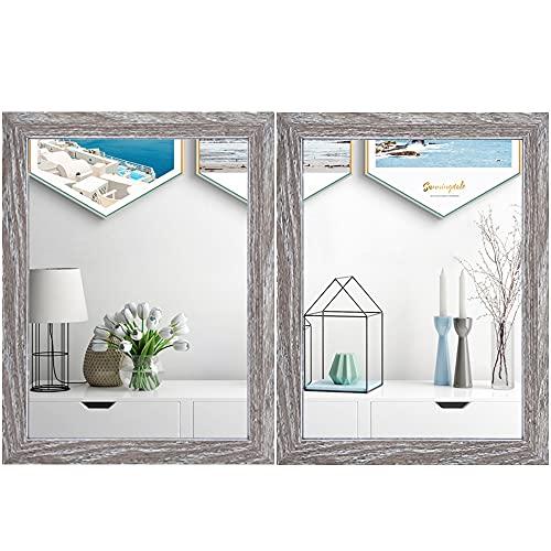 Meetart Rechteckige Wandspiegelung, 40 x 30 cm Spiegel Kunst Wohnzimmer modern Wand Spiegel Schlafzimmer Bad Küche Eingang Spiegel Vertikaler oder horizontaler Wandrahmen (2 Stück) Holzkohle