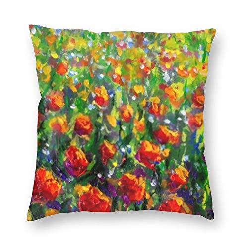 Amapolas rojas, tulipanes, flores de rosas en hierba verde, cuchillo de paleta, fundas de almohada suaves y cómodas de Monet, decoración de funda de cojín para sofá cama, se adapta a almohadas de 18 x