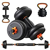 Adjustable Dumbbells,44Lbs Free Weights Dumbbells Set for Men and Women,Kettlebell Kettle Bells Weight Sets, Non-Slip Barbell Set Hand Weights-Dumbell Set for Home Gym Workout Exercise (Black-44Lbs)