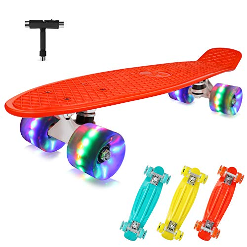 BELEEV Skateboard 22 inch Completo Mini Cruiser Retro Skateboard per Bambini, Giovani e Adulti, Ruote con all-in-One Skate T-Tool per Principiante