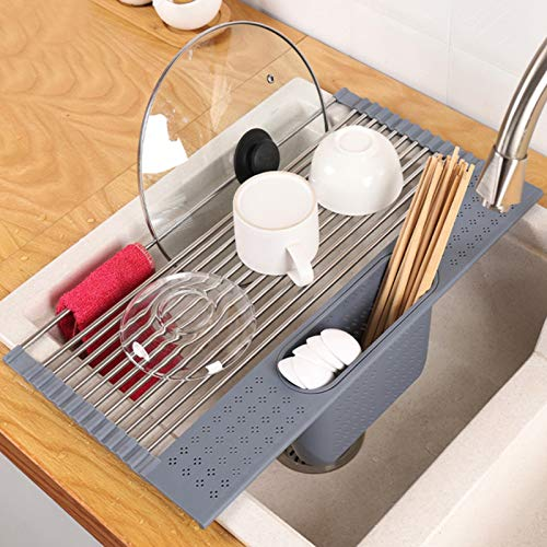 Homexpect Roll up Dish Drying Rack with Utensil Holder 17.3 inches x 13 inches, 304 Stainless Steel Over The Sink Dish Drying Rack, Foldable, Rollable and Easy to Store, Grey