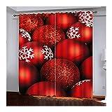 Daesar Cortina Opaca para Ventana Rojo Cortina Salon Poliester Bolas de Decoración Navideña con Copo de Nieve 264x274CM