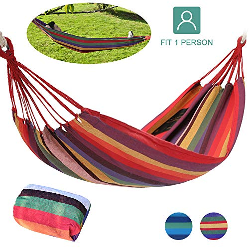 Lixada Camping Hammock Canvas Single/Double Hammock with 1.9m Strap and Storage Bag for Backyard Patio Porch Garden Indoor Outdoor Camping Hiking