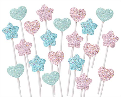 Glitter Star Heart Cupcake Toppers
