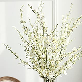 HuanhuaTC 8pcs Artificial Orchids Realistic Fake Flowers Arrangement for Home Party and Wedding Decor (White)