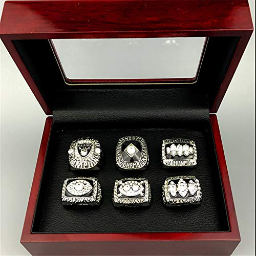 Jiustars 6PCS Oakland Raiders Super Bowl 1976 1980 1983 & AFC 1967 2002 Championship Rings Set for Fans Men's Collectible Gift (with Box,11)