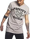 MERCHCODE Popeye Barber Shop T-Shirt pour Homme L Gris