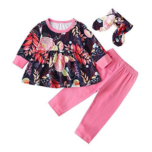 BOBORA 3PCs Vêtements de Ensemble T-Shirt à Fleurs à Manches Longues + Pantalon Legging + Bandeau 0-4Ans