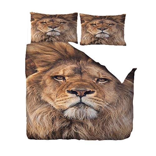 PANDAWDD Bedding Duvet Cover Set - 135x200cm Animal lion Brushed Microfibre Duvet Cover with 2 Pillowcases Easy Care Anti - Allergic Soft Smooth