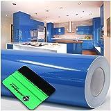 Lámina para plóter + rasqueta brillante o mate, 10 m x 63 cm, para muebles, cocina, baño, decoración, color azul celeste 052