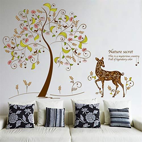 EWQHD Pvc Matériel Vert Autocollants Couleur Secret Arbre Mur Coller Salon Chambre Arrière-Plan Décoratif Stickers Muraux