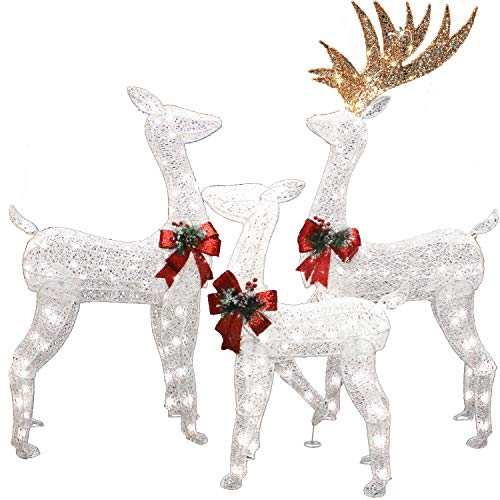 3 Packs Christmas Reindeers, Buck, Doe, Fawn 230 LED Warm White Yard Lights for Christmas Outdoor Yard Garden Decorations, Christmas Event Decoration, Christmas Eve Night Decor