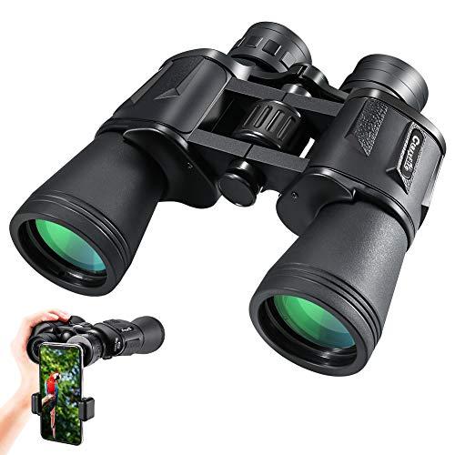 Binoculares de Alta Potencia, CrazyFire 10 x 50 Prismáticos Impermeables con Lentes FMC y Adaptador de Teléfono Inteligente para Exteriores, Viajes, Observación de Aves, Caza, Aventura