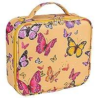 boxoon バタフライパターンメイクアップトラベルケーストラベルパッキングバッグ大容量化粧品収納ケーストイレタリートートバッグ