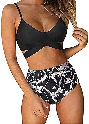 ABINGOO Bikini Mujer Traje de baño Clásico Beach de Dos Piezas Triángulo Bañador Push Up Cintura Alta Bikini Set