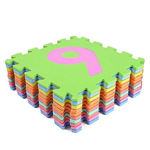 hollylife Alfombra de Puzzle Goma Espuma EVA, 10 Números, Alfombras Infantiles de Actividades para Niños y Bebes, 84 x 84 x 1 cm, Sin BPA