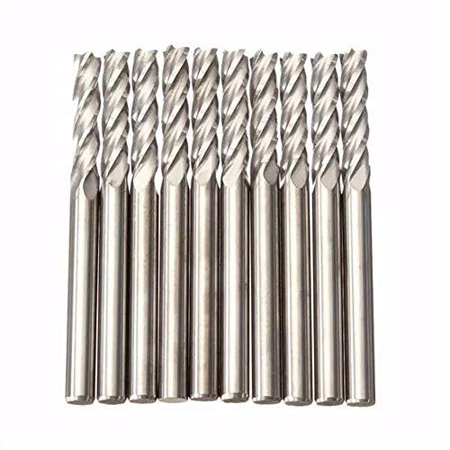 KAIBINY Drill Bit Drill CNC 4 Flute Spiral Bit End Mill CEL 10pcs 3.175mm Shank Carbide Milling Cutter 15mm Drill Accessories