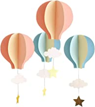 4Pcs Hot Air Balloon 3D Paper Garland,Star Cloud Hanging Ornaments Decoration for Birthday Party Decor Baby Shower