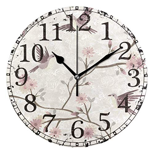 Retro Flying Birds Tree Branch Flowers Round Wooden Wall Clock 12 inches for Home Decor Living Room Kitchen Bedroom Office School Best Gift