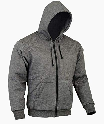 Bikers Gear The CrossFire Grey Full Kevlar Motorcycle Hoodie CE Protection, Grey, Large