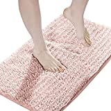 Suchtale Luxury Chenille Bathroom Rug, Non Slip Bath Mat (17x24 Inch Dusty Pink) Water Absorbent Soft Plush Shaggy Microfiber Rugs, Machine Washable Dry Extra Thick Small Carpet for Shower Floor