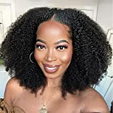 Afro Kinky Curly Lace Front Wigs Human Hair Pre Plucked for Black Women 20 Inch Glueless 4C Afro Curly Frontal Wigs Human Hair Full 13x4 Swiss Lace Free Part Natural Color