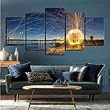 mmkow Mural 5 Piezas Set fotografía Fuego Artificial Vida Arte Dormitorio decoración del hogar 50x100cm (Marco)