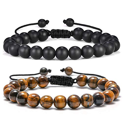 Mens Bracelet Giftsfor Grandfather - 8mm Tiger Eye Black Matte Agate Mens Anxiety Bracelets, Stress Relief Yoga Beads Adjustable Bracelet Dad Gits Father