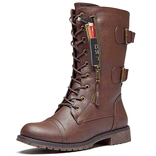 DailyShoes Women's Military Lace Up Buckle Combat Boots Mid Knee High Exclusive Credit Card Pocket, Brown Pu, 10 B(M)