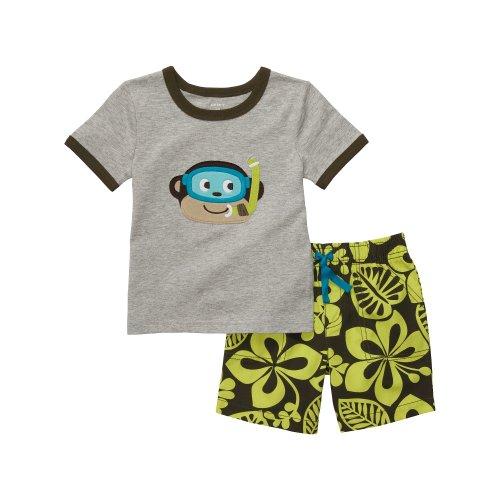 Carter's T-shirt + shorts 2-delige combinatie zomer outfit voor jongens baby geruit korte broek