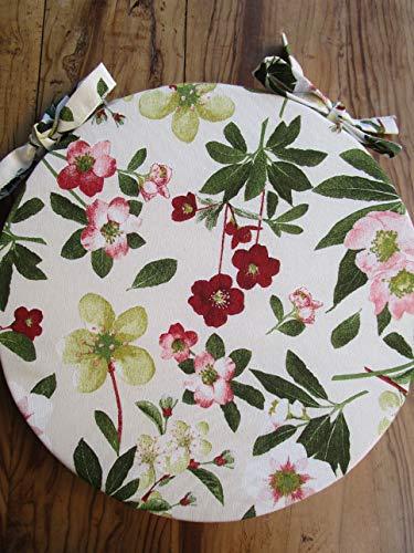 Pago Poco Novita !!! Sitzkissen, rund, Maße: Durchmesser 40 cm, abnehmbar mit Reißverschluss. Floral Made in Italy!! !