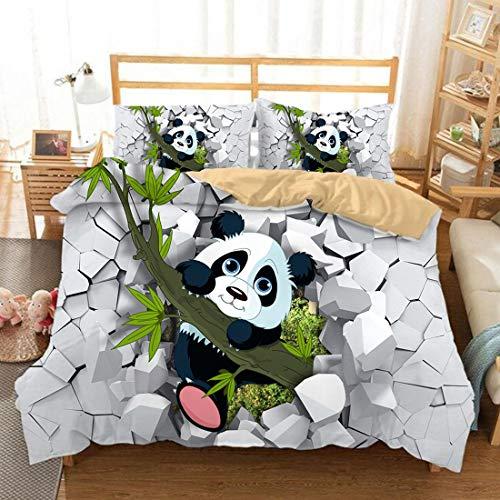 Cnspin Impression de Bande dessinée Housse de Couette 3D Animal Panda Confortable et Doux La literie Comprend 1 Housse de Couette et 2 taies d'oreiller 3pcs,A,3PCS 220X240CM