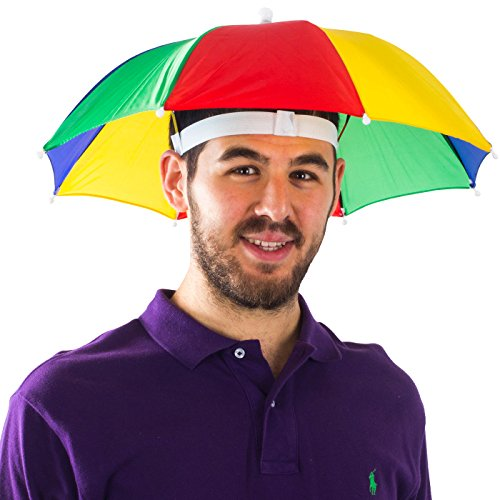 Funny Party Hats Umbrella Hat - Fishing Umbrella Hat for Kids and Adults - Elastic, Rainbow Colors