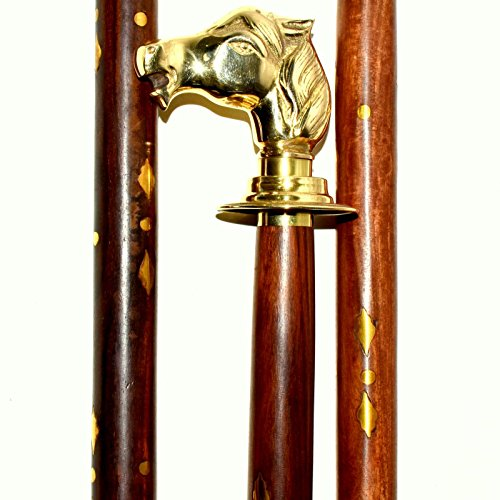 Nautical.Gift.Decor Messing Paard hoofd Indian palissander houten stok Solid Messing Handvat 36 inches Betaalbare prijs het beste voor Mannen/Vrouwen/Ouders/Grote Ouders Geschenken Bedankt geven