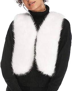 chenshiba-JP 女性フォークスファーベスト固体暖かいノースリーブ暖かいウエストコート冬ジャケット