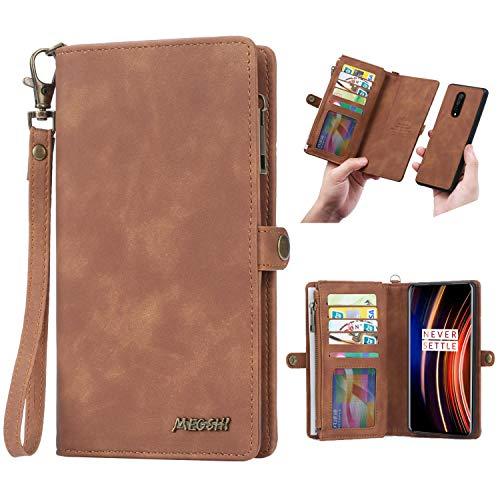 Simicoo OnePlus 7T Pro FILP Leather Wallet Detachable Case Card Slots Holder Zipper Purse Magnetic Cover Hand Strap Cash Pocket Pouch Wallet for OnePlus 7T Pro (Brown, OnePlus 7T Pro)