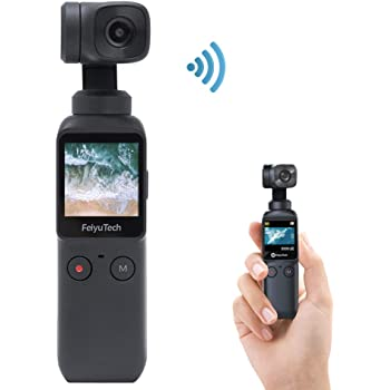 """3-Axis Pocket Gimbal Camera Stabilizer 4K HD 8X Slow Motion Smart Tracking Hyperlapse Motion Trail Time-Lapse Panoramic 1.3"""" Touchscreen 1/1.25"""" Attachable to Smartphone Video Vlog Feiyu Pocket Gimbal"""