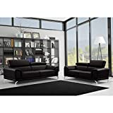 Mobilier Deco Ensemble de canapé Design 3+2 Places Carlo en Simili Cuir Noir