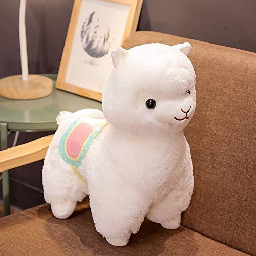 Hart van het Meisje Net Red Saddle Alpaca Doll mythische Dier Grass Mud Horse Rainbow Alpaca Doll Pluche Toy Pillow (Color : White)