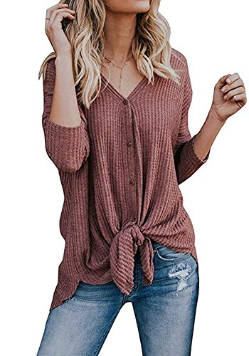 Chvity Womens Loose Blouse Long Sleeve V Neck Button Down T Shirts Tie Front Knot Casual Tops Plus Size (X-Large, Rust Red)