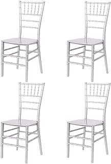 EME 4 Sillas Modelo Chiavari o Tiffany en Color Blanco. Incluye 4 sillas y 4 Cojines. Elegantes para Eventos, apilables y Muy Resistentes.