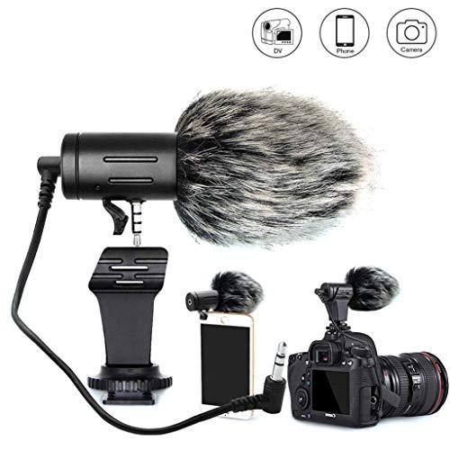WJDASM Mikrofon Telefon Mikrofon Mini tragbare 3,5 mm Kondensator Telefon Videokamera Interview Mikrofon Mikrofon mit Muff für iPhone, schwarz