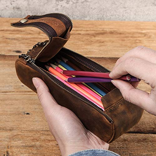Leather Zipper Pen Pencil Case Bag Handmade Retro Creative Standable School Stationary Pen Pouch Large Capacity