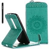 Slynmax Mandala Flip Tasche Slynmax Hülle Kompatibel mit Motorola Moto G 3. Generation 5 Zoll Hülle Weich Kunstleder Fordable Ledertasche Brieftasche Lederhülle Slim Handyhülle Klapphülle Stand,Grün