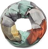 styleBREAKER sciarpa ad anello con stampa geometrica, sciarpa ad anello, foulard, donna 01016141, colore:Verde menta-Grigio-Beige