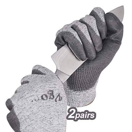 Vgo Glove Guanti, 2 paia, guanti da lavoro, guanti da giardinaggio, guanti da cucina resistenti al taglio, protezione di livello 5, certificato EN388